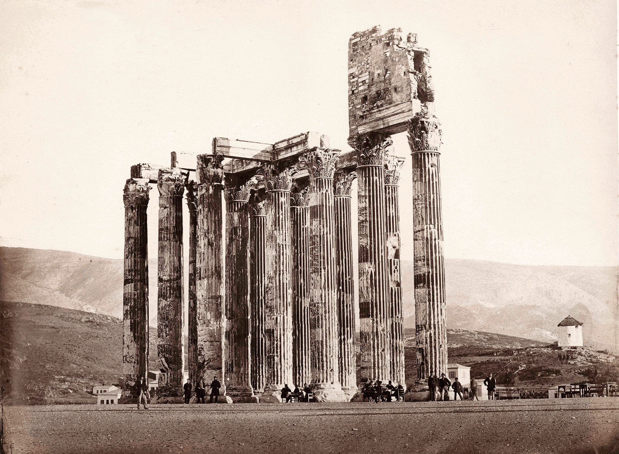 Photo of the Temple of Olympian Zeus, with Christian stylite hut atop the ruins, taken in 1858.